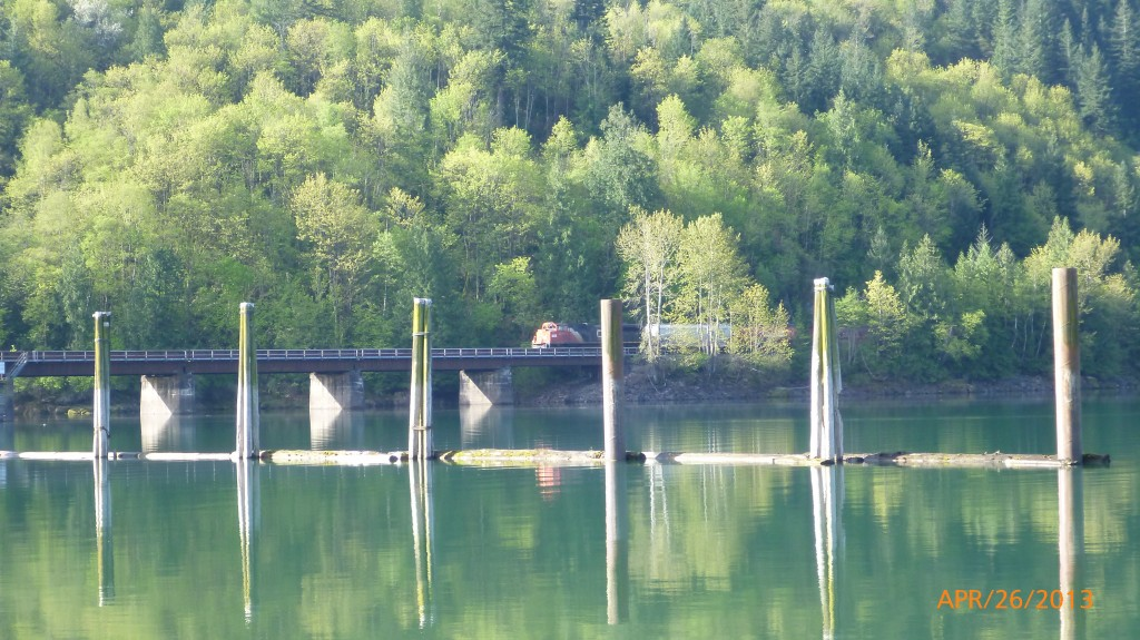 Train crossing bridge over Harrison River
