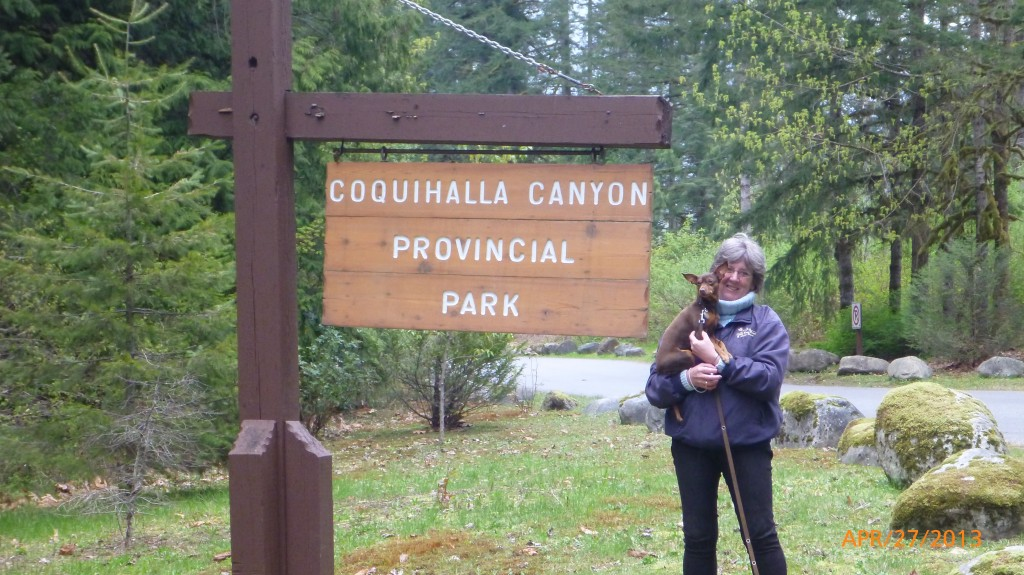 Mom and Dash at entrance to Coquihalla Canyon Provincial Park