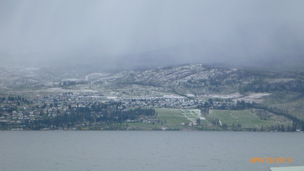 Evidence of snow across Lake Okanagan from our campground