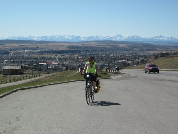 Pic my mom took of me climbing the first half of the hill in Cochrane