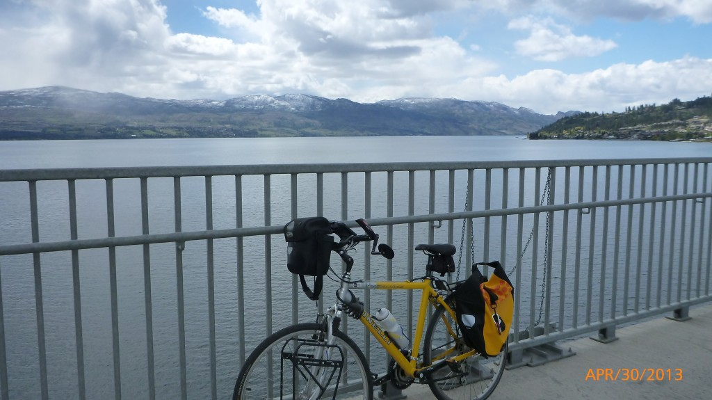My bike on the bridge between West Kelowna and Kelowna