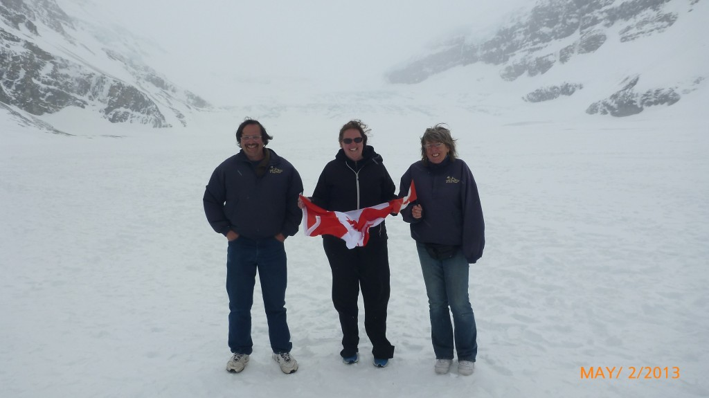 Dad, me and mom standing on the Athabasca Glacier
