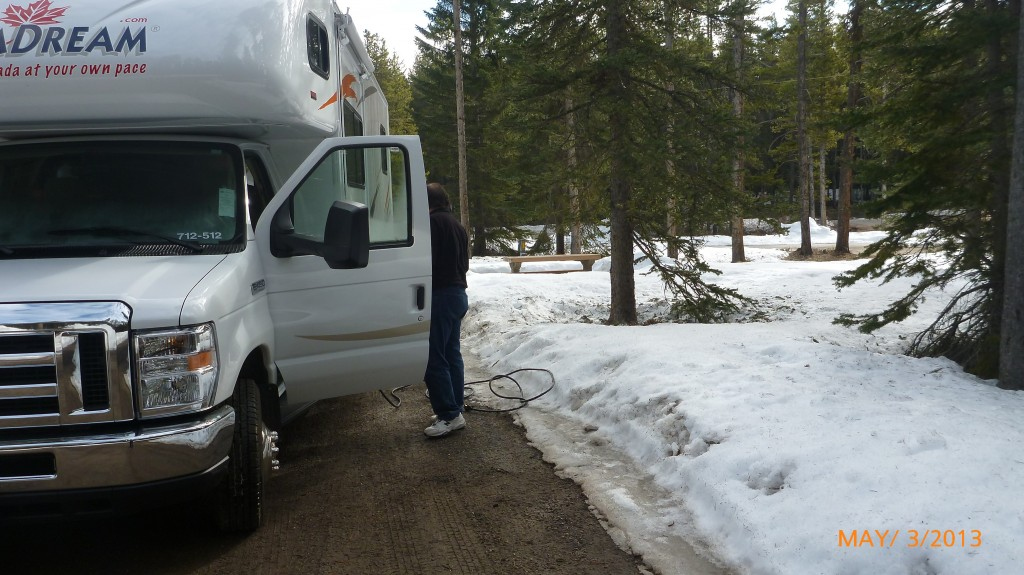 Snow in our Lake Louise campground