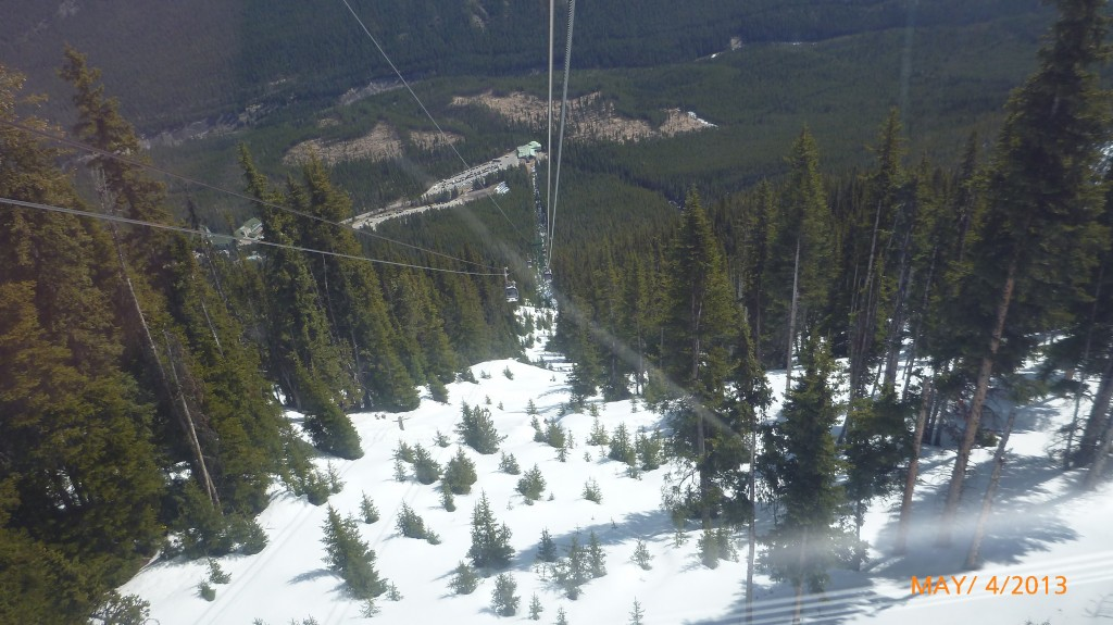 Looking down the gondola track