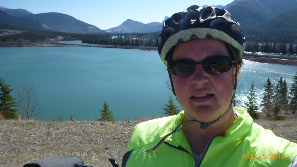 Me in front of a lake on bow valley parkway just outside of Canmore