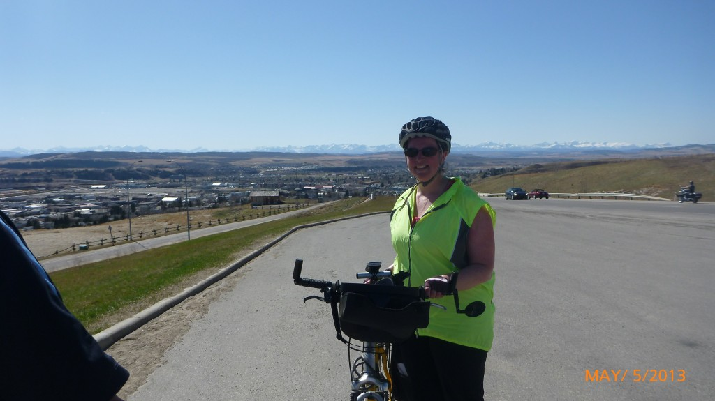 Me halfway up the hill heading out of Cochrane