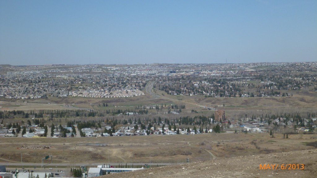 View of north Calgary from the top of the bobsleigh track