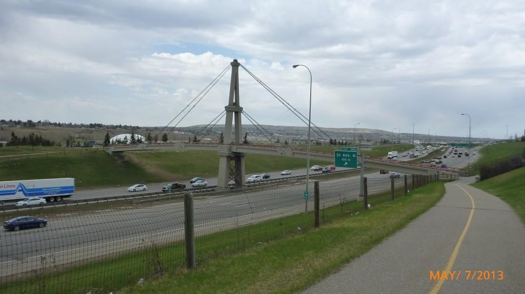 Bike bridge crossing the highway