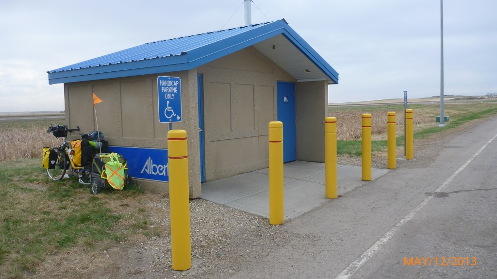 In addition to washrooms, these rest areas provide a bit of much needed shade!
