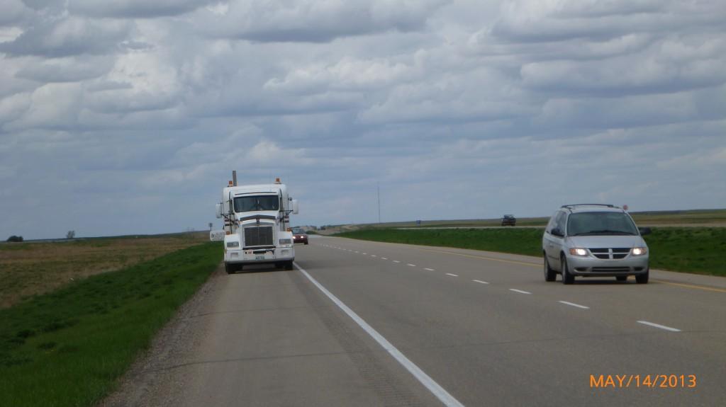 Truck taking up my lane!