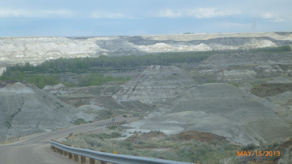 Driving down to the base of the badlands
