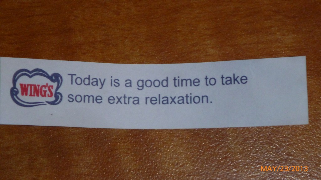 I had chinese for dinner today and the fortune seemed rather relevant...