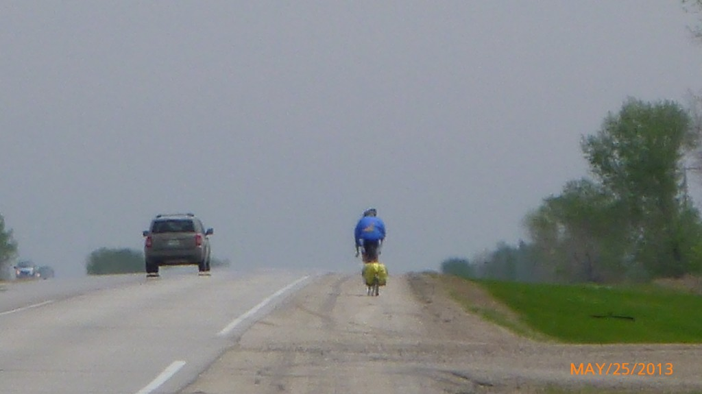 Jacques quickly pulling away from me - I'm determined to be the slowest cross Canada cyclist!