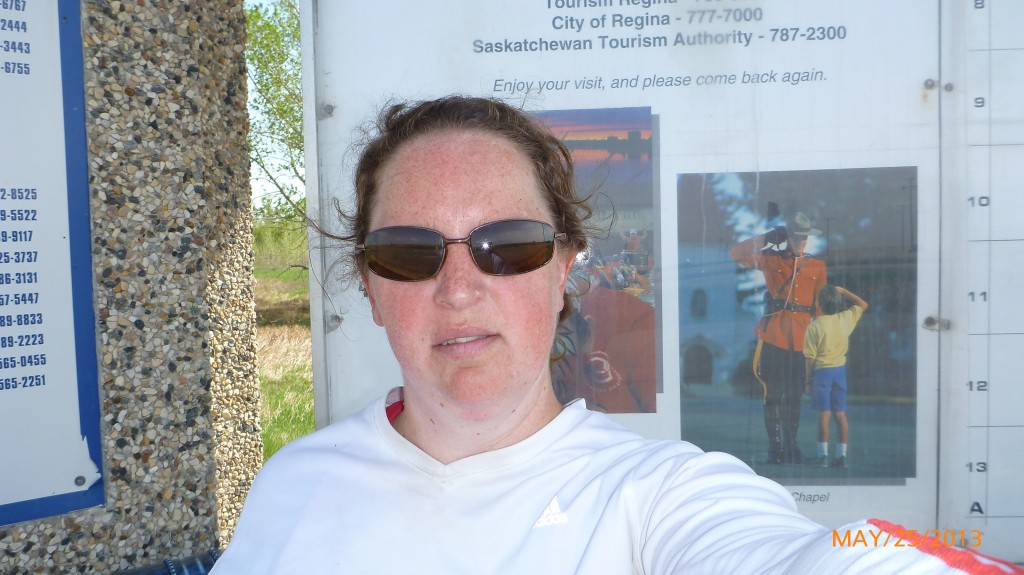 Me at the Regina info map - I was too tired to smile at this point