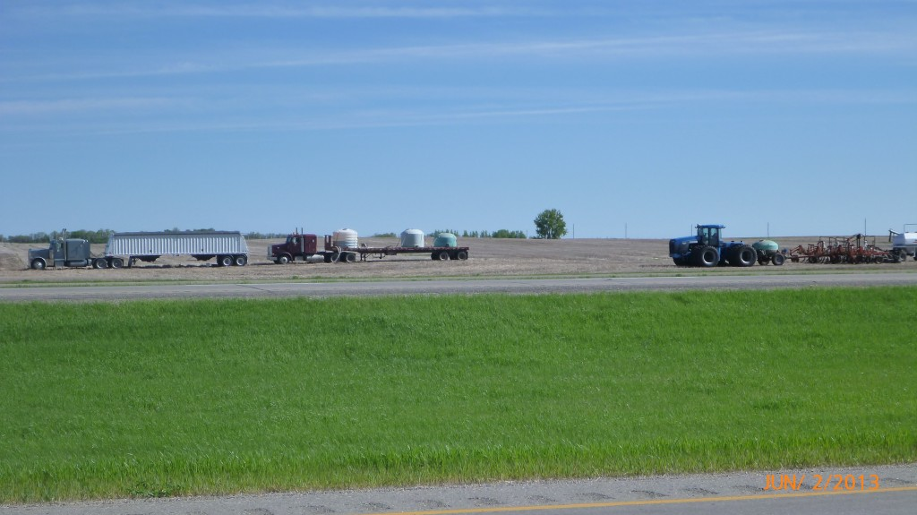 Transport trucks in the fields