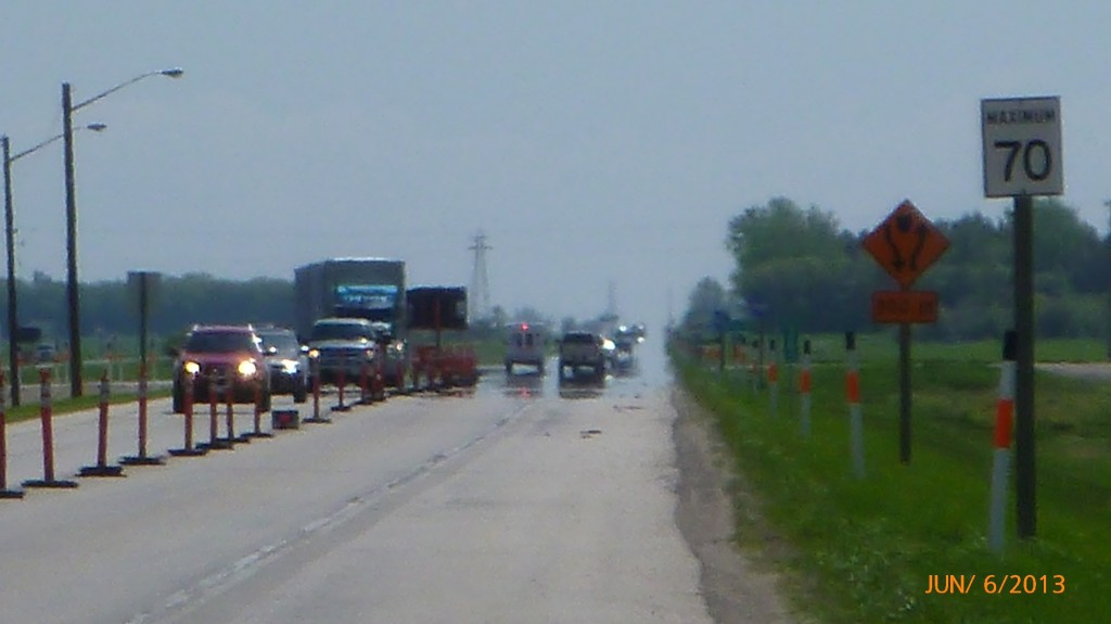 An ambulance trying to get through construction on Trans Canada Hwy 1
