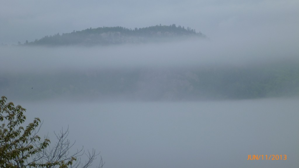 Northern Ontario with the scene setting fog