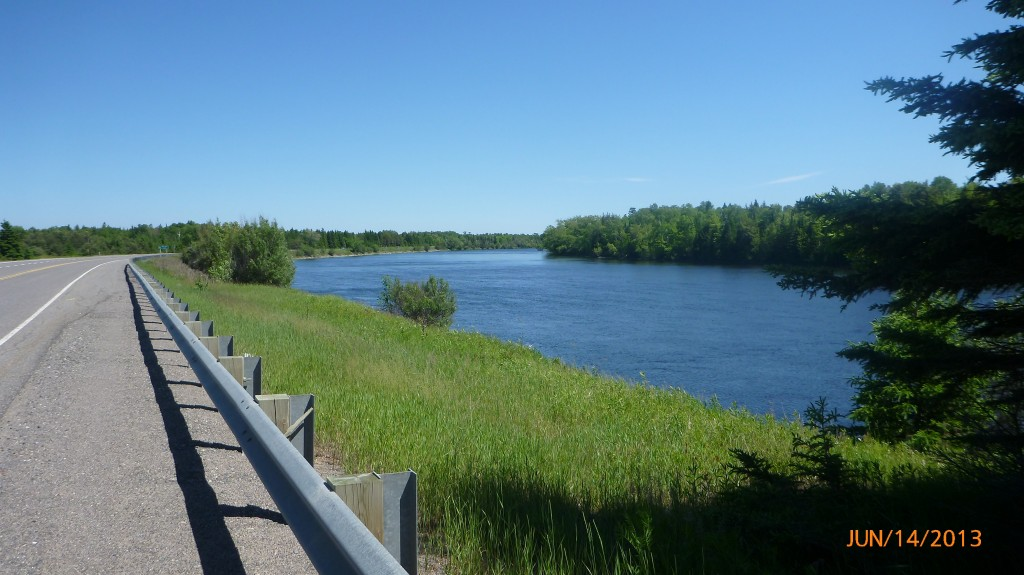 Hwy 17 from Iron Bridges to Blind River - about 25km of following the river!