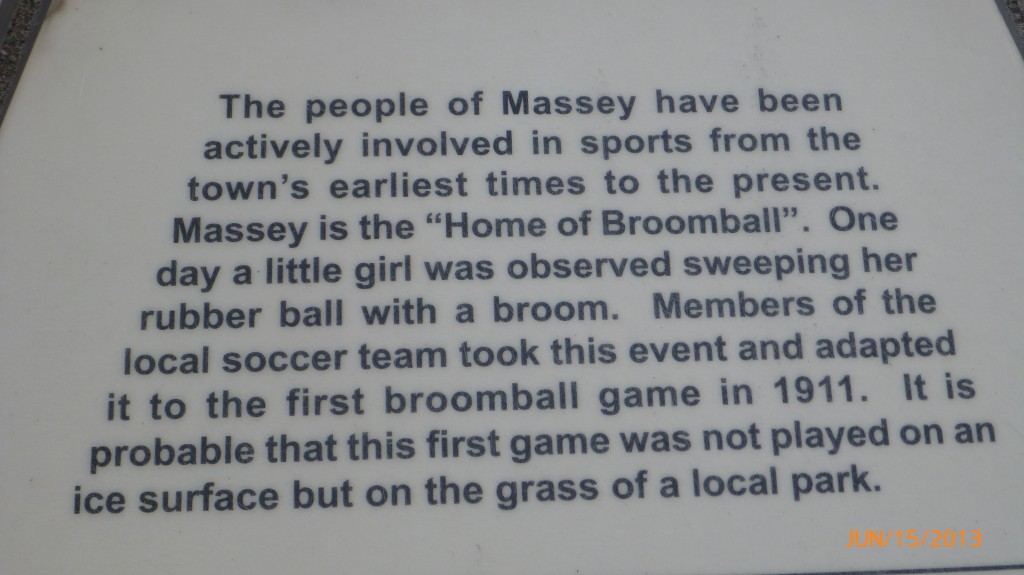 Plaque in Massey describing their broomball past