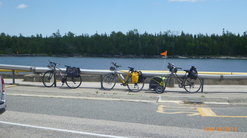Our bikes in line to get on the ferry