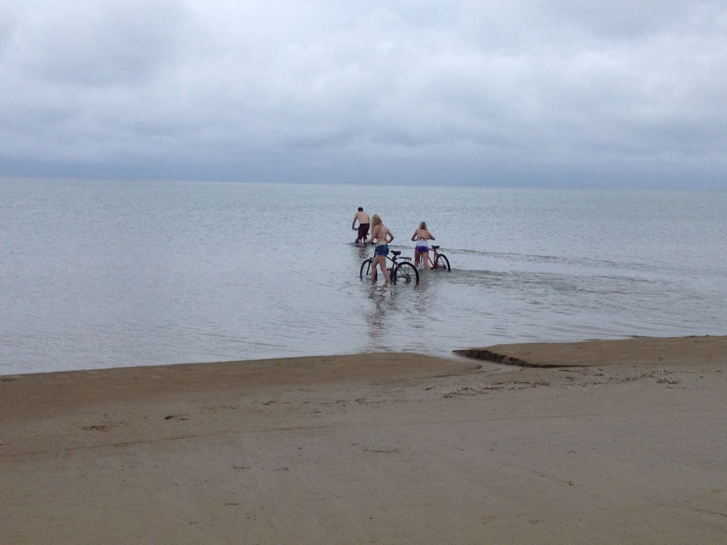 Cyclists going through the lake instead of around?