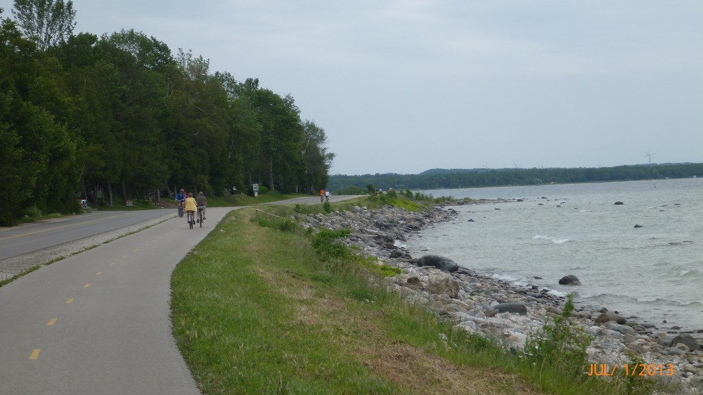 Paved trail along the lake