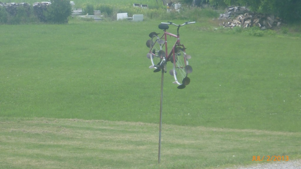 A bicycle windmill