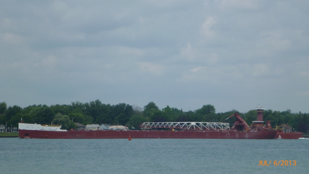 Watching a steamliner on St. Clair River