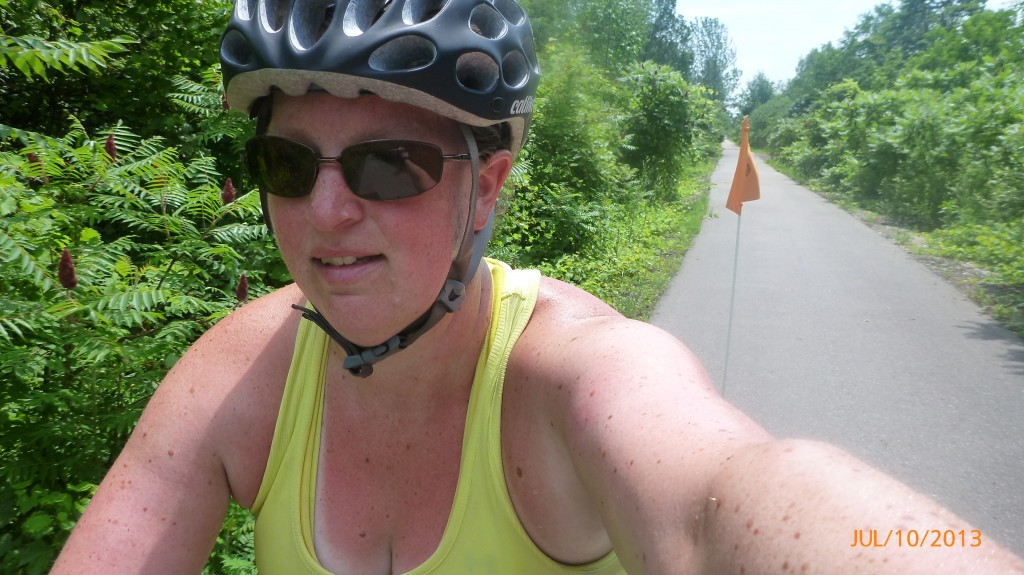 Me riding the rail trail between Simcoe and Brantford (for a small stretch it was even paved)