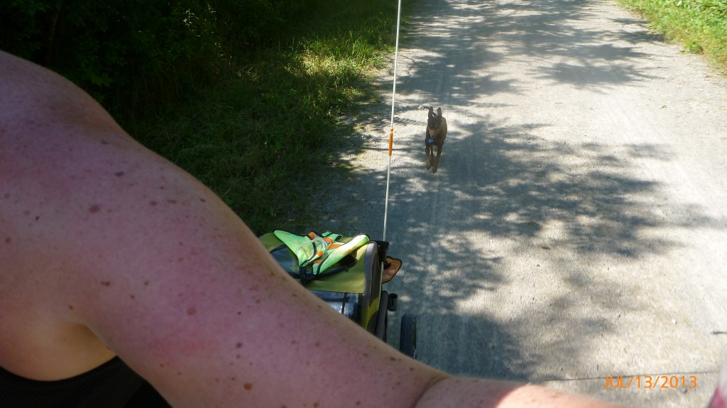 Dash running on the rail trail