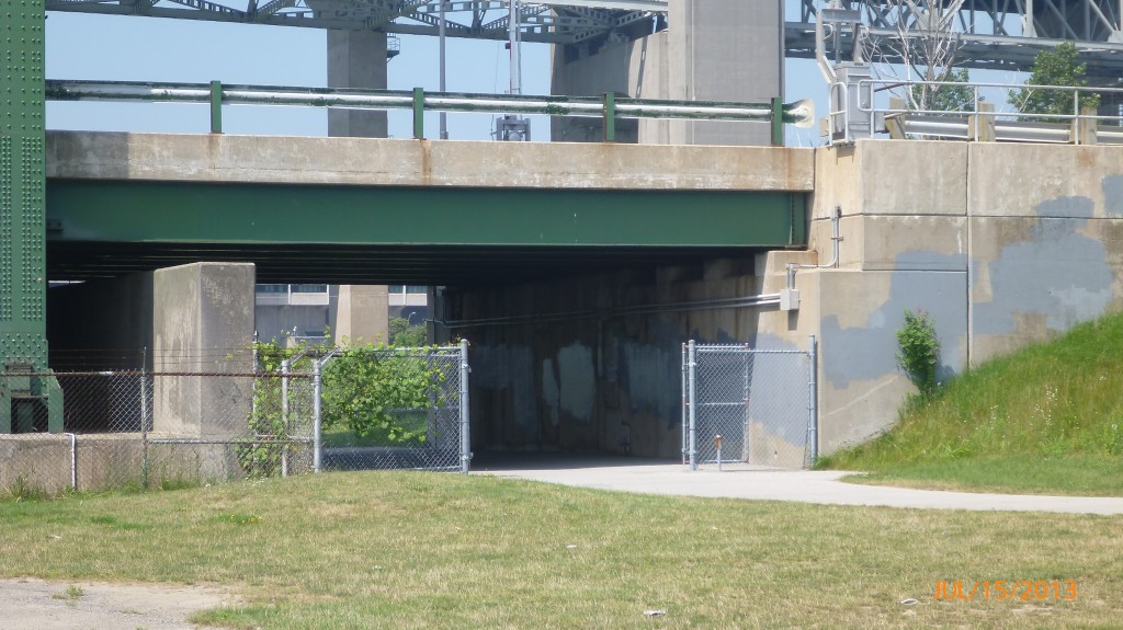 Part of the cycling/pedestrian underpass to cross the lift bridge