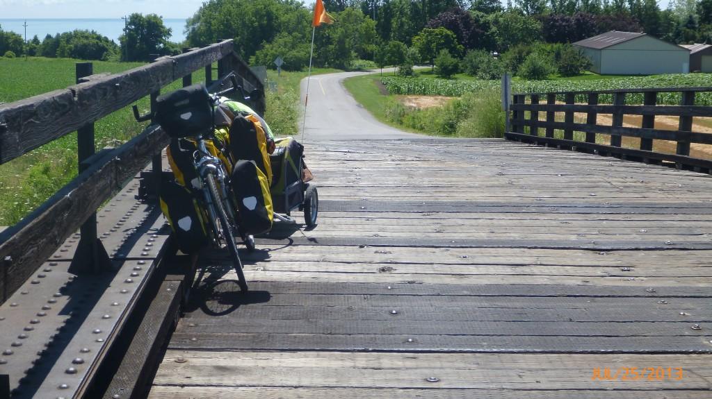 My bike on an old school bridge