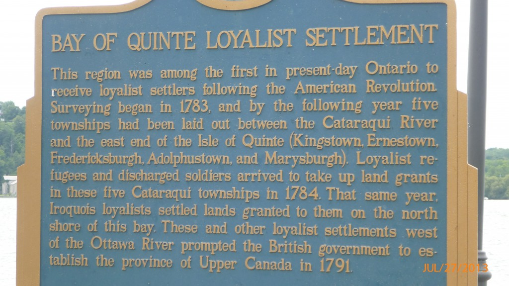 Some info on the Loyalist Settlement