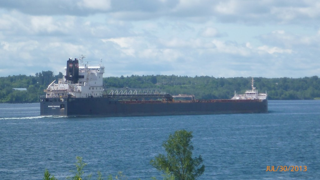 Another view of the ocean liner heading down the St. Lawrence