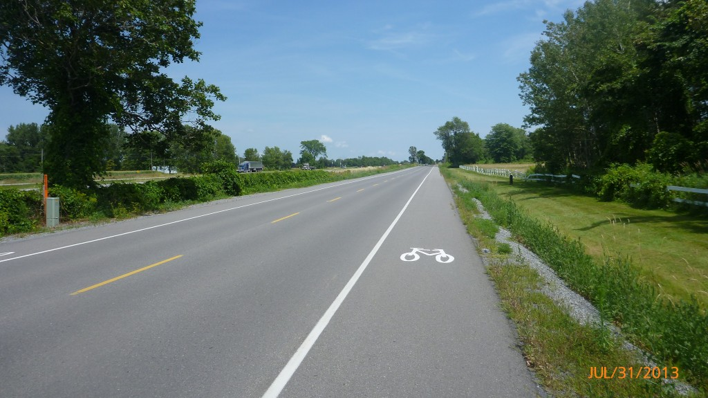 Bike path outside of Cornwall - I'm pretty impressed with the path system in Ontario along Lake Erie, Lake Ontario and the St. Lawrence
