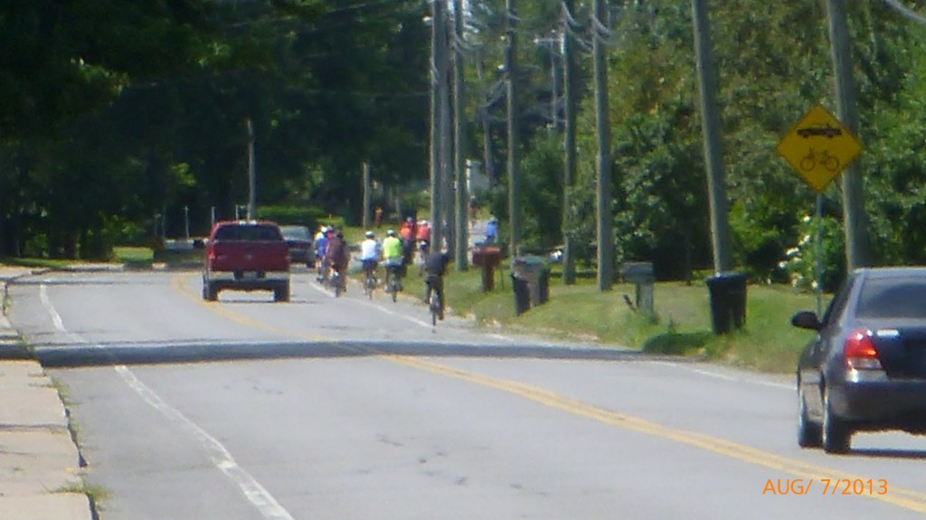 It's not abnormal to see a group of cyclists such as this one along the paths in Quebec