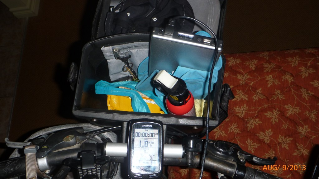 The silver box is an external power source (HyperJuice) which is plugged into my bike GPS - hopefully this is a temporary solution 'cuz it won't fair well in rainy conditions