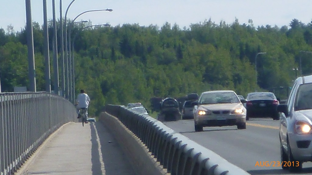 Crossing the bridge in Miramichi - I was happy for the dedicated bike lane!