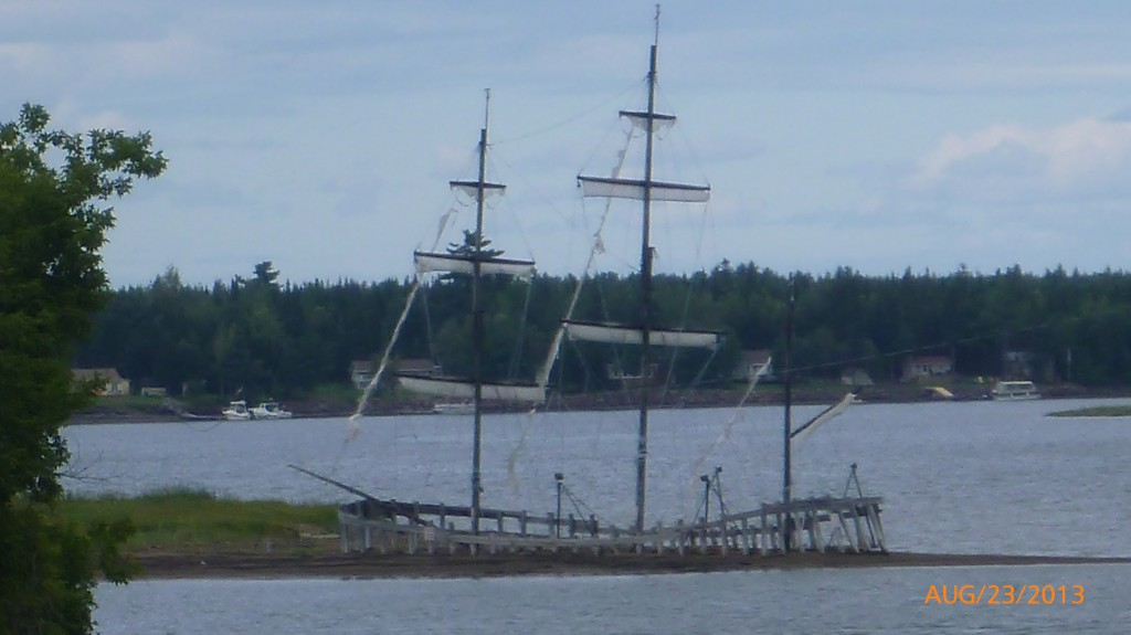A skeleton of a sailboat