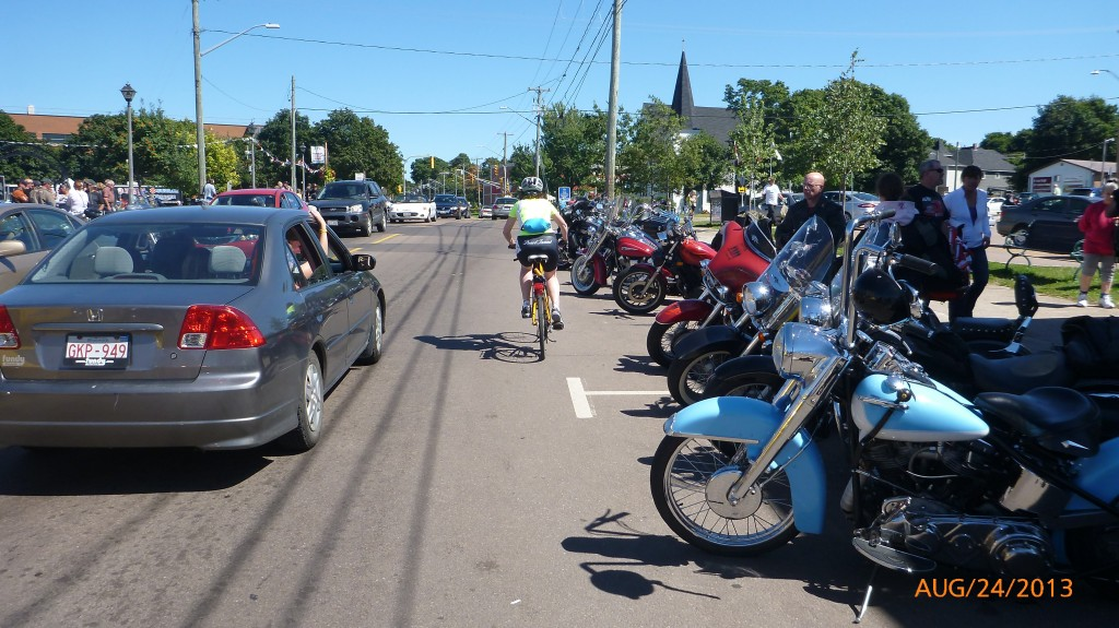 Heading out of Shediac and the bike rally