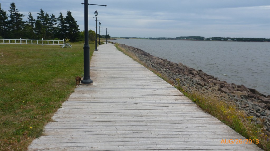 Walking along the boardwalk in Summerside