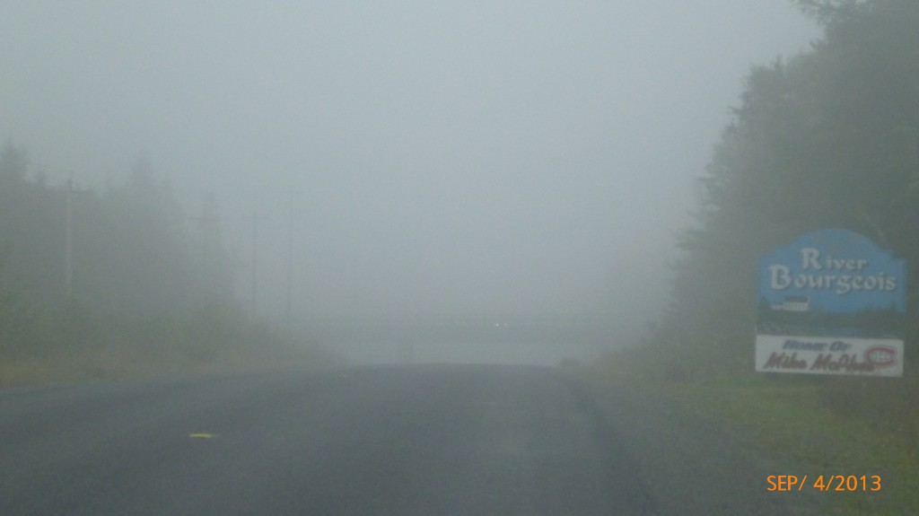 Foggiest part of the whole trip!  Can you pick out the oncoming headlights?