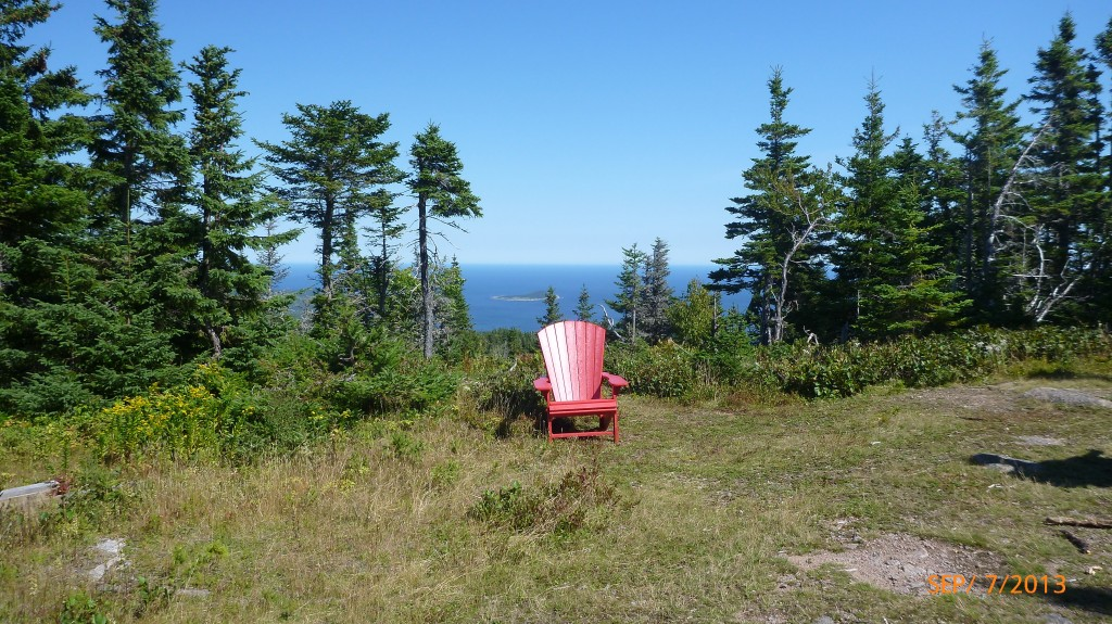 Tada!  The highest point of the Franey Trail, and what's this?  A muskoka chair to relax in