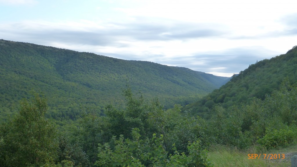 A valley along the northern end of the Cabot Trail