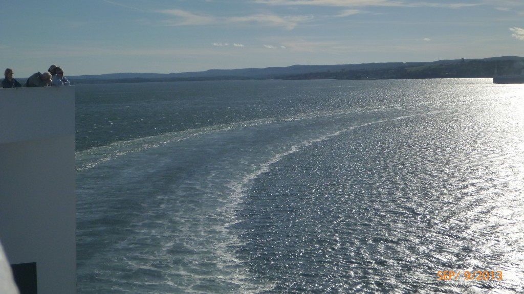 Trail left in the water from the ferry
