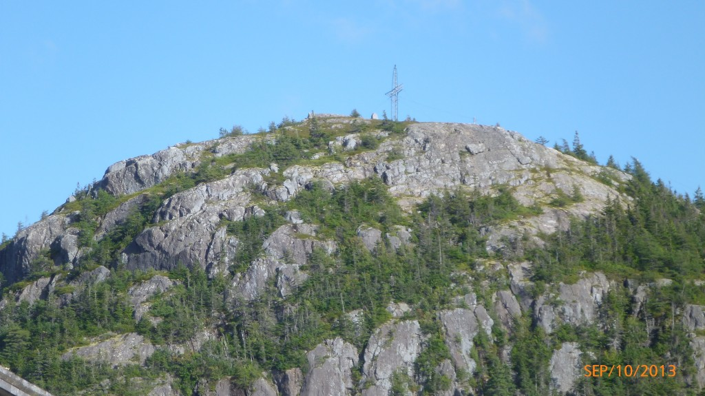 The cross on top of George Grove mountain in Holyrood