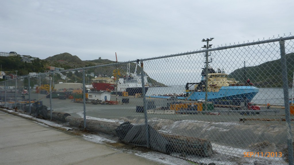 The fenced off Atlantic ocean at the Terry Fox monument in St. John's