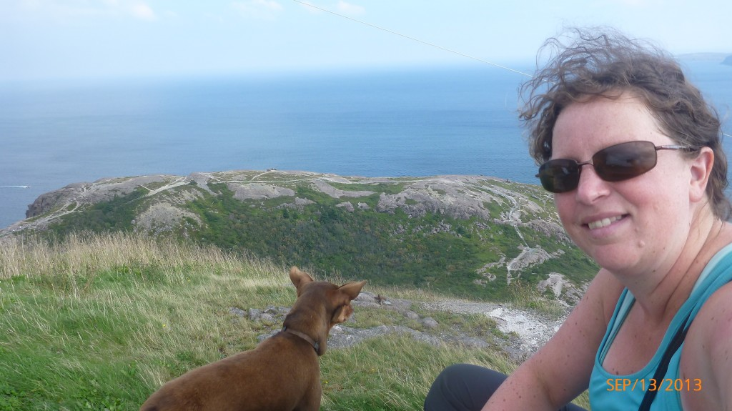 Dash and I enjoying the ocean view at Signal Hill - don't mind my hair - it was WINDY!