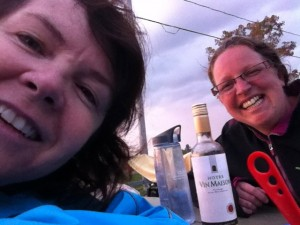 Gail and I getting our drink on (wine and water!)