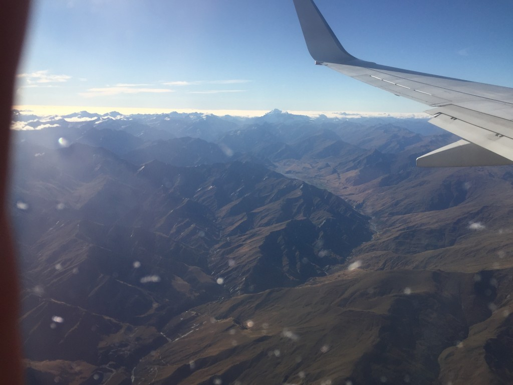 First glimpse of the southern alps from plane